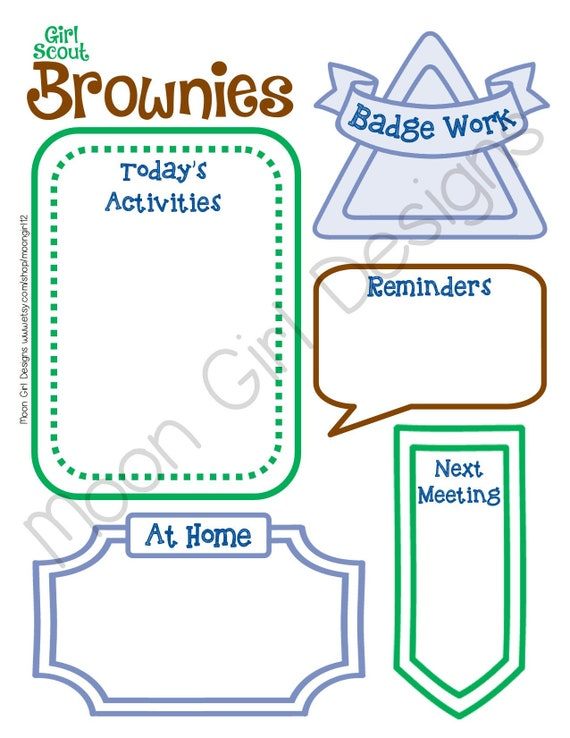 brownie meeting activity planner girl scouts editable etsy