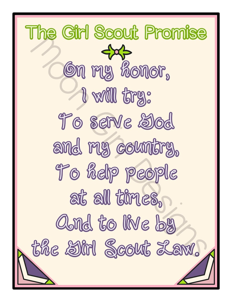 photograph relating to Girl Scouts Promise Printable named Lady Scout Ensure Entire Site Printable Obtain PDF