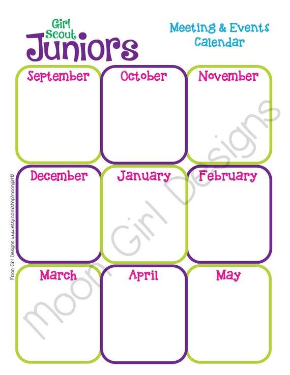 girl scout calendar template - junior yearly calendar girl scouts editable printable pdf