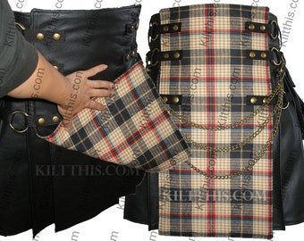 Black Leather Adjustable Interchangeable Utility Kilt Lined Reversible Tartan Front  Antique Brass Kilt Chains Cargo Pockets Brass Metals