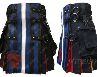 Kilt Black Canvas Cargo Utility Kilt Adjustable Interchangeable with Leather Pride Flag Front LGBTQ+ Pride Rainbow Flash Pleats Gunmetal