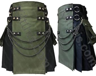 Black Adjustable Interchangeable Cargo Utility Kilt Army Green Front with Kilt Chains Gunmetal Metals