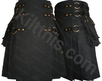 Black Adjustable Interchangeable Cargo Utility Kilt Black Front Antique Brass Removable Pockets