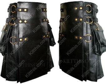 Black Leather Adjustable Interchangeable Cargo Utility Kilt Black Leather Front Antique Brass Metals Removable Cargo Pockets
