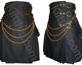 Black Cotton Adjustable Interchangeable Cargo Utility Kilt Black Front Antique Brass Kilt Chains