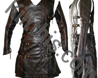 Black Leather Adjustable Interchangeable Utility Kilt plus Black Leather Vest and Leather Sleeves Set