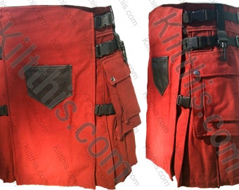 Burgundy Adjustable Interchangeable Hiker Cargo Utility Kilt Burgunady Front Leather Pocket Black Plastic Buckles