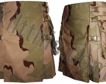 Desert Camouflage Adjustable Interchangeable Cargo Utility Kilt Khaki Buckles and Straps