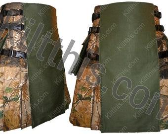 Realtree Camouflage Adjustable Interchangeable Cargo Utility Hiker Kilt Green Front Black Plastic Buckles