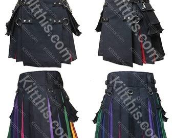 The Original Black Cargo Utility Kilt Adjustable Interchangeable Diversity Pride Rainbow Flash Pleats Kilt with Pink and Black Pleats LGBTQ+