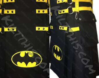 Black Adjustable Interchangeable Utility Kilt with Batman Inspired Front Panel with Leather Straps Nickel Metals