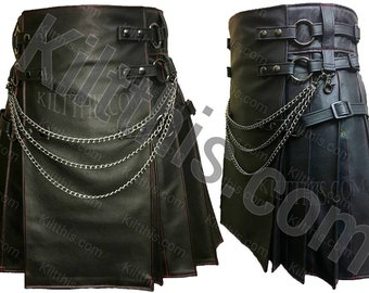 Black Leather Adjustable Interchangeable Kilt Leather Front Merman Mermaid Scale Leather Flash Pleats Leather Straps Gunmetal Kilt Chains