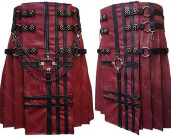 Red Leather Adjustable Interchangeable Kilt Red Front Black Leather Cross Design Spiral Conchos Gunmetal Kilt Chains Gunmetal Inside Pockets