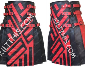 Star Wars Inspired Two Tone Black and Red Leather Adjustable Interchangeable Kilt Leather Straps Inside Pockets and Gunmetal Metals