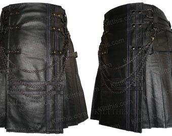 Black Baddie Adjustable Interchangeable Leather Kilt Black Front Purple Stitch Double Cross Design Gunmetal Kilt Chains lInside Pockets