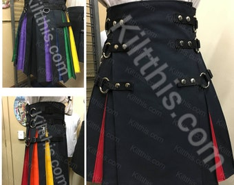 The Original Black Cargo Utility Kilt Adjustable Interchangeable Diversity Pride Rainbow Flash Pleats Kilt LGBTQ+