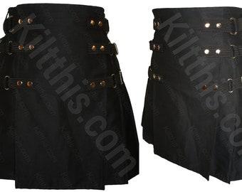 Black Adjustable Interchangeable Kilt Black Front Nickel Metals and Inside Pocket