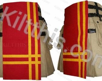 Khaki Adjustable Interchangeable Hiker Cargo Utility Kilt Red Front Yellow Double Cross Design Black Plastic Buckles