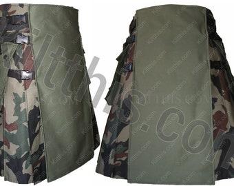 Woodland Camouflage Adjustable Interchangeable Hiker Kilt Green Front Black Plastic Buckles