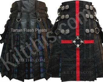 Black Leather Adjustable lnterchangeable Kilt with Red Cross Tartan Pleats Celtic Conchos