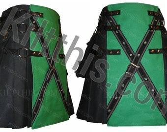 Kilt Black Canvas Cargo Utility Kilt Adjustable Interchangeable with Green Front X Design