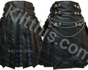 Black Leather Adjustable Interchangeable Utility Kilt Leather Front Murray of Atholl Ancient Tartan Flash Pleats Leather Straps Conchos