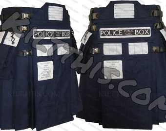 TARDIS Inspired Adjustable Interchangeable Utility Kilt with Cargo Pockets and Leather Straps plus Nickel Buckles As Seen on Room101