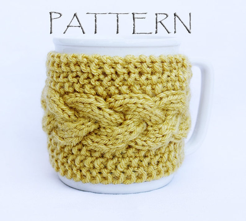Pattern Knitted Braid Cup Cozy image 0