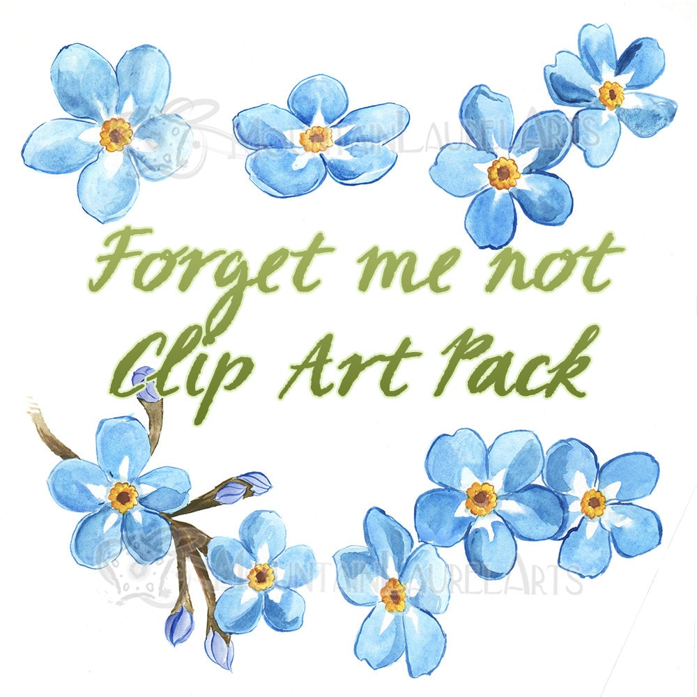 Blue Flower Clipart Forget Me Not Watercolor Painting Etsy