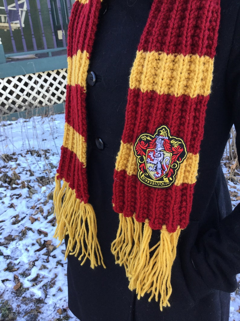 Hogwarts House Colors Hat Scarf Harry Potter Gryffindor Scarf  30c469eb4fb3