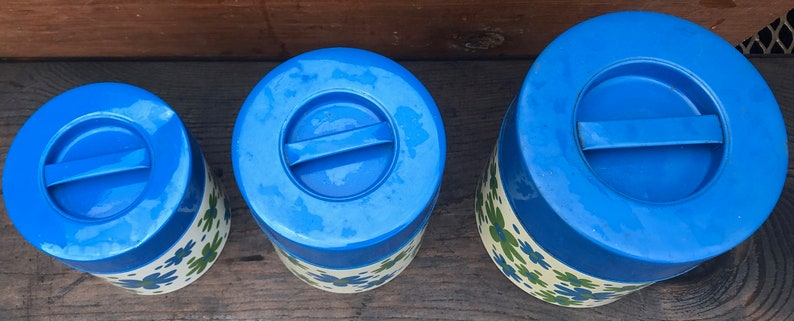 Vintage Counterpoint Tins - Retro Tins Storage Tins 3 Blue Flower Tins Counterpoint Tins Retro Flower Tins Vintage Canisters