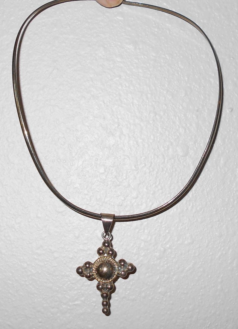 Sterling Silver Pendant Choker Sterling Silver Cross Choker Pendant Sterling Silver Jewerly Cross Pendant Choker /& Cross Necklace