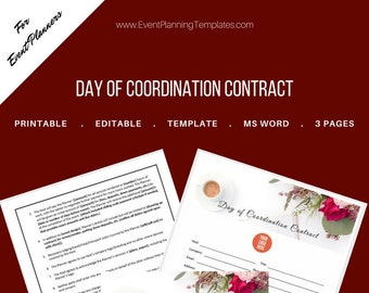 Day-of Coordination Contract for Event and Wedding Planners. Printable Template., MS Word