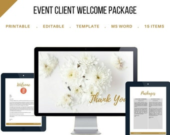 Wedding Planning Client Welcome Package for Event and Wedding Planners. Customizable Printable Template. MS Word and JPEG