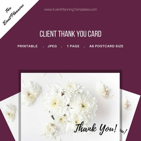 thank you card for clients for event and wedding planners etsy