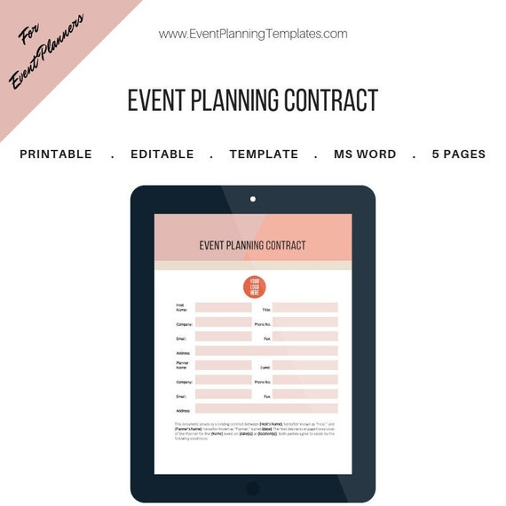 Event Planning Contract For Event And Wedding Planners Day Of Coordination Contract Printable Template Ms Word