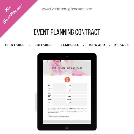 Event Planning Contract For Event And Wedding Planners Printable Template Ms Word