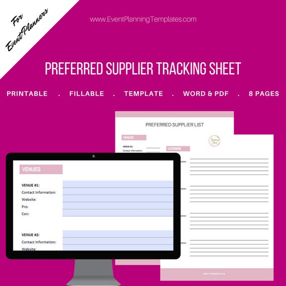 Vendor List Preferred Supplier Fillable Tracking Sheet For