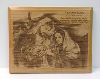 Laser Engraved Alder Nativity Plaque 8x10, Christmas Holiday Engraved Nativity, Chrismas Blessing, Religious Nativity Scene