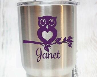 Owl Branch Personalized yeti vinyl Decal