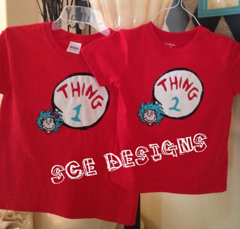 ca34c60c9 Thing 1 and Thing 2 T-shirt set with boy or girl face. This   Etsy