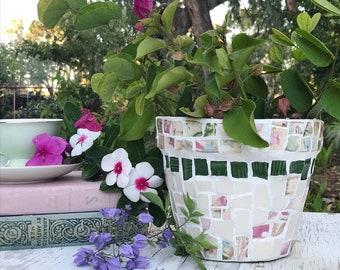 Mosaic pot - small mosaic pot - Rose poetry mosaic pot - rose mosaic tiles  - vintage tiles  Australia - garden gifts - pink mosaic tiles