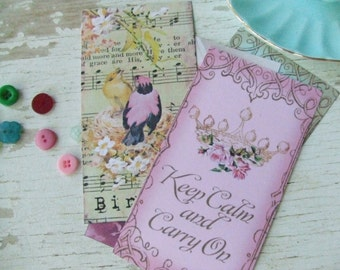 Keep Calm - Bonjour -  Notecards - shabby style - keep calm notecards - bird notecards - mini notecards - Embellishments