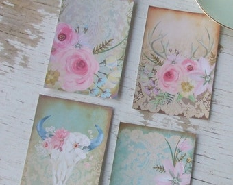 Shabby cottage chic deer notecards - paper goods - journal - scrapbooking - painted notecards blank notecards - embellishments