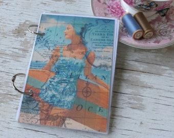 Vintage Beach girl laminated notebook - shabby chic notebook - pretty notebook - refillable notebook -  gift idea - Australia