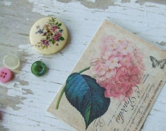 Notecards - Shabby cottage Miniature Notecards - Pink hydrangea notecards - embellishments - butterfly