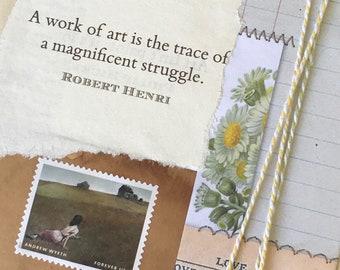Original Art Collage - altered art -Original art - Deborah Keats - Australia - Andrew Wyeth postage stamps - Art collage