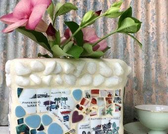 Mosaic pot - vintage tiles  San Francisco mosaics - garden gifts - Haight and Ashbury - floral mosaic pot - mosaics - Deborah Keats