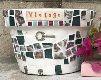 Mosaic pot - mosaic tiles - Vintage theme - made in Australia - birthday - wedding - housewarming - gardening - vintage key - mosaics