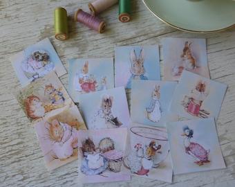Peter Rabbit paper squares - Scrap paper pieces - stamps - Peter Rabbit Embellishments - decorative paper - scrapbooking Beatrix Potter